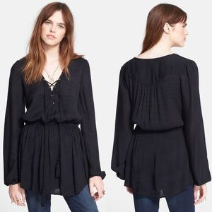 Free People Wildest Moment Tunic Top Black